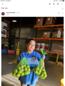 Teresa helping at the Food Bank in San Francisco