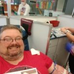 Rhett Gives Blood in Indianapolis