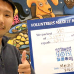 In-Jun helped out at the Northwest Harvest hunger relief agency